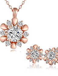 Plated Rose Gold Fashion Jewelry Sets Necklace Stud Earrings