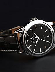 Chenxi moda pulseira de couro de negócios clássico relógio de quartzo impermeável