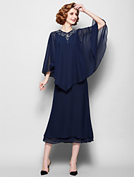 Sheath/Column Mother of the Bride Dress - Dark Navy Tea-length 3/4 Length Sleeve Chiffon