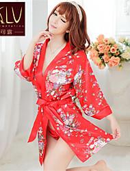 Feminino Roupão / Super Sensual / Uniforme e Cheongsams / Conjunto Roupa de Noite Estampado Seda Sintética Vermelho Mulheres