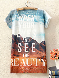 Women's CLOTHING O-Neck 2015  Fashion Summer Dress Top Sale Print Fashion Landscape Style T Shirt(Cotton Blends)