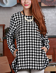 Maternity Casual Houndstooth A-line Hem Long Blouse