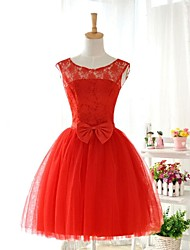 Knee-length Lace / Tulle / Stretch Satin Bridesmaid Dress - Ruby Ball Gown Jewel