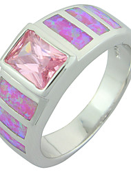 Women's Fashion Pink Fire Opal Silver Plated Ring with Pink Stone