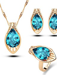 Women's Gold Plated Jewelry Sets Square Crystal Jewelry Sets