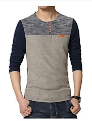 Men's Round Neck Casual Splicing Long Sleeve T-Shirts