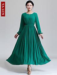 Yalun® Women's Vintage Casual Slim Chiffon Print Dress
