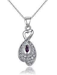 Fashion Shining Ladies' Silver Necklace With Crystal Clear and Purple