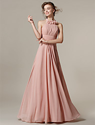 Floor-length Chiffon Bridesmaid Dress - Pearl Pink A-line Halter