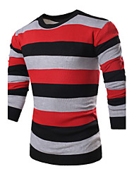 Men's Striped / Color Block Pullover,Cotton Long Sleeve