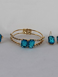 Fashion Blue Rings Earrings Bracelet Jewelry Set For Women