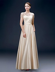 Formal Evening Dress A-line Bateau Floor-length Satin with Pockets