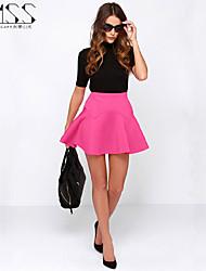 SMSS Women's Casual Fold Ruffles Bodycon A-line Mini Skirts