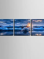e-home® lona esticada arte do nascer do sol no mar set decoração pintura de 3