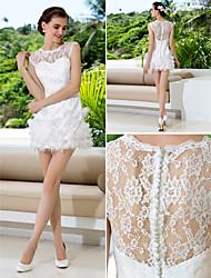 Lan Ting Sheath/Column Plus Sizes Wedding Dress - Ivory Short/Mini Jewel Lace