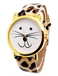 Women's Cat Head Leopard Circular Belt China Movement Watch(Assorted Colors) Cool Watches Unique Watches