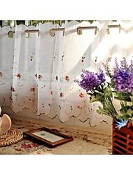 """One Panel 90""""WX33""""L(230cmWx85cmL) White Floral / Botanical  Faux Linen Kitchen Curtain"""