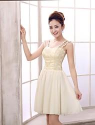 Short/Mini Chiffon Bridesmaid Dress - Champagne A-line Straps