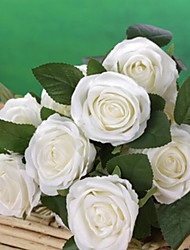 """20""""L Set of 18 Heads Spring  Rose Silk Cloth Flowers White"""