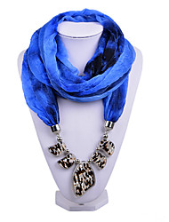 D Exceed  Women Gradient Dark Blue Ring Scarves Voile Scarf with Irregular Stone Pendant Scarfs