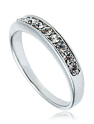 Arinna 18K White Gold GP Ladies Small Band Finger RingClear Crystal Jewelry J2216