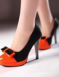 DamenKleid-Lackleder-Stöckelabsatz-Absätze / Rundeschuh-Beige / Orange