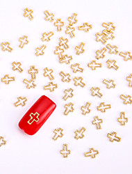 10PCS Gold Nail Art Jewelry Golden Cross Aryclic Nail Tips Decorations Nail Art Glitters for DIY Salon