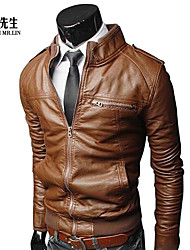 Men's Stand Collar Slim Motorcycle Jacket O