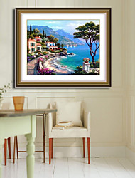 побережье Вилла крестом пейзаж гостиная алмаз крестом рукоделие стены домашнего декора 40 * 30см
