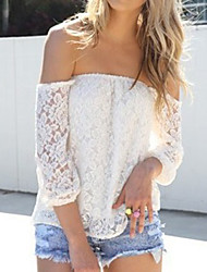Foreign trade zone Europe seven point sleeve blouse lace openwork lace collar shirt