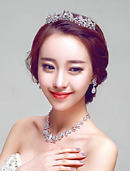 Rhinestones Titanium Jewelry Sets/Necklace with Earrings with Tiara