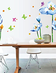 Beautiful Blue Flower Butterfly PVC Wall Stickers Wall Art Decals