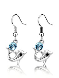 Princess Dolphin Drop Earring Plated with 18K True Platinum Light Sapphire Crystallized Austrian Crystal Stones