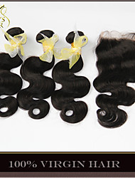4Pcs Lot Indian Virgin Hair With Closure 3 Bundles Unprocessed Indian Body Wave Remy Human Hair Weave With Lace Closures