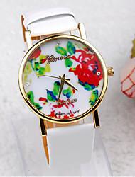 coway genebra mulheres redondas relógio banda quartzo de couro com ligação de ouro de pulso analógico (cores sortidas)