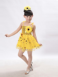 Performance Dresses Children's Polyester Sunflowers Sequins Dress(More Colors) Kids Dance Costumes
