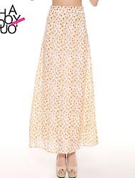 mop impresión floral de las mujeres haoduoyi® la falda larga de las faldas de cintura baja altura