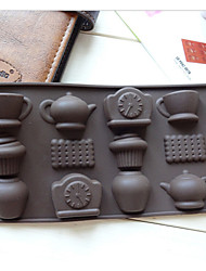 Fashion 12 Holes Tea Cup Clock Teapot Diy Silicone Cake Mold Ice Chocolate Decorating Mould Kitchen Cooking Tools