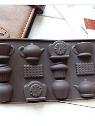 мода 12 отверстий чашка часы чайник DIY силиконовые торт инструменты формы льда шоколада украшения формы кухня для приготовления пищи