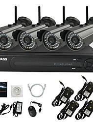 KAVASS® 4CH Wifi H.264 NVR Kit(4pcs Wireless 720P 3.6mm Day Night Vision Weatherproof IP Camera)P2P