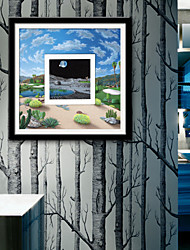 E-HOME® Framed Canvas Art,Garden Scenery Framed Canvas Print