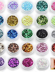 24 Colors - Paillettes - Doigt/Orteil - en Abstrait - 18*12
