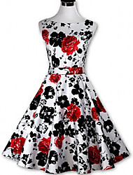 Women's Vintage/Print Micro-elastic Sleeveless Above Knee Dress (Polyester/Cotton Blends)