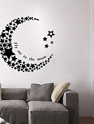 Wall Stickers Wall Decals, Style Crescent Moon Stars PVC Wall Stickers