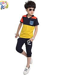 Boy's Cotton Clothing Set,Summer Patchwork