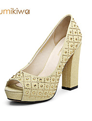 Kumikiwa 2015 fashion party women shoes peep toe pumps with rhinestoness golden and silver women sandals K15CN1276