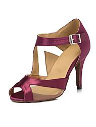 Non Customizable Women's Dance Shoes Latin Satin/Flocking Stiletto Heel Purple