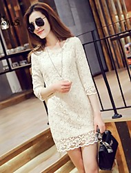Women's Vintage/Sexy/Bodycon/Casual/Lace/Work/Plus Sizes Stretchy ¾ Sleeve Mini Dress (Lace)