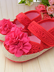 Baby Shoes Dress/Casual Fabric Flats Red/Beige