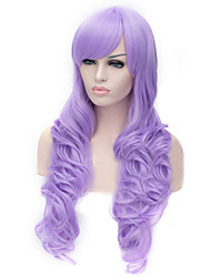 European And American Fashion Light Purple Inclined Bang Curly Hair Wig